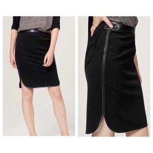 LOFT Black Faux Leather Trim Pencil Skirt sz 0